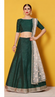 Emerald Green Lehenga With Contrast Dupatta